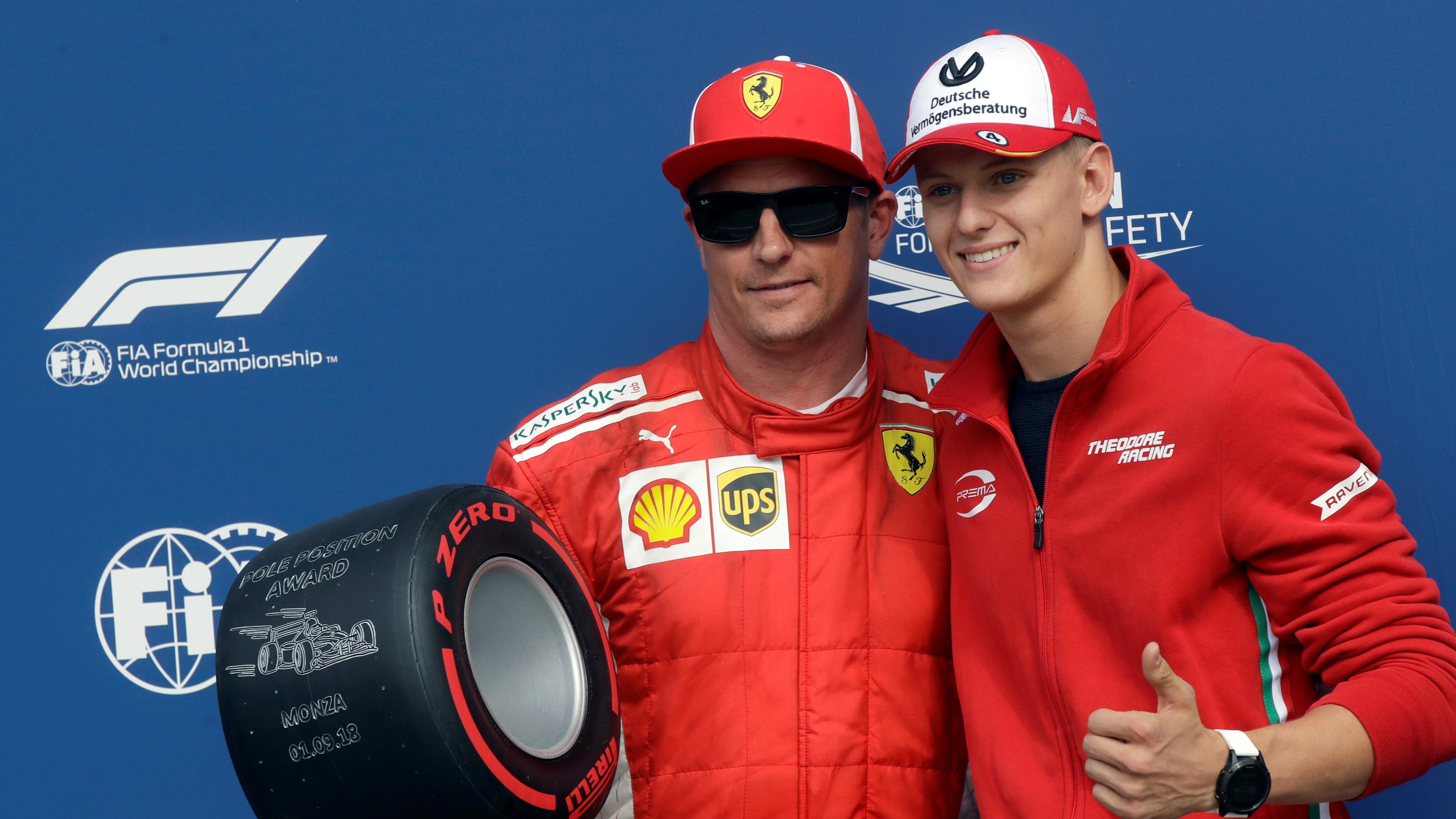 Mick Schumacher with Kimi Raikkonen.