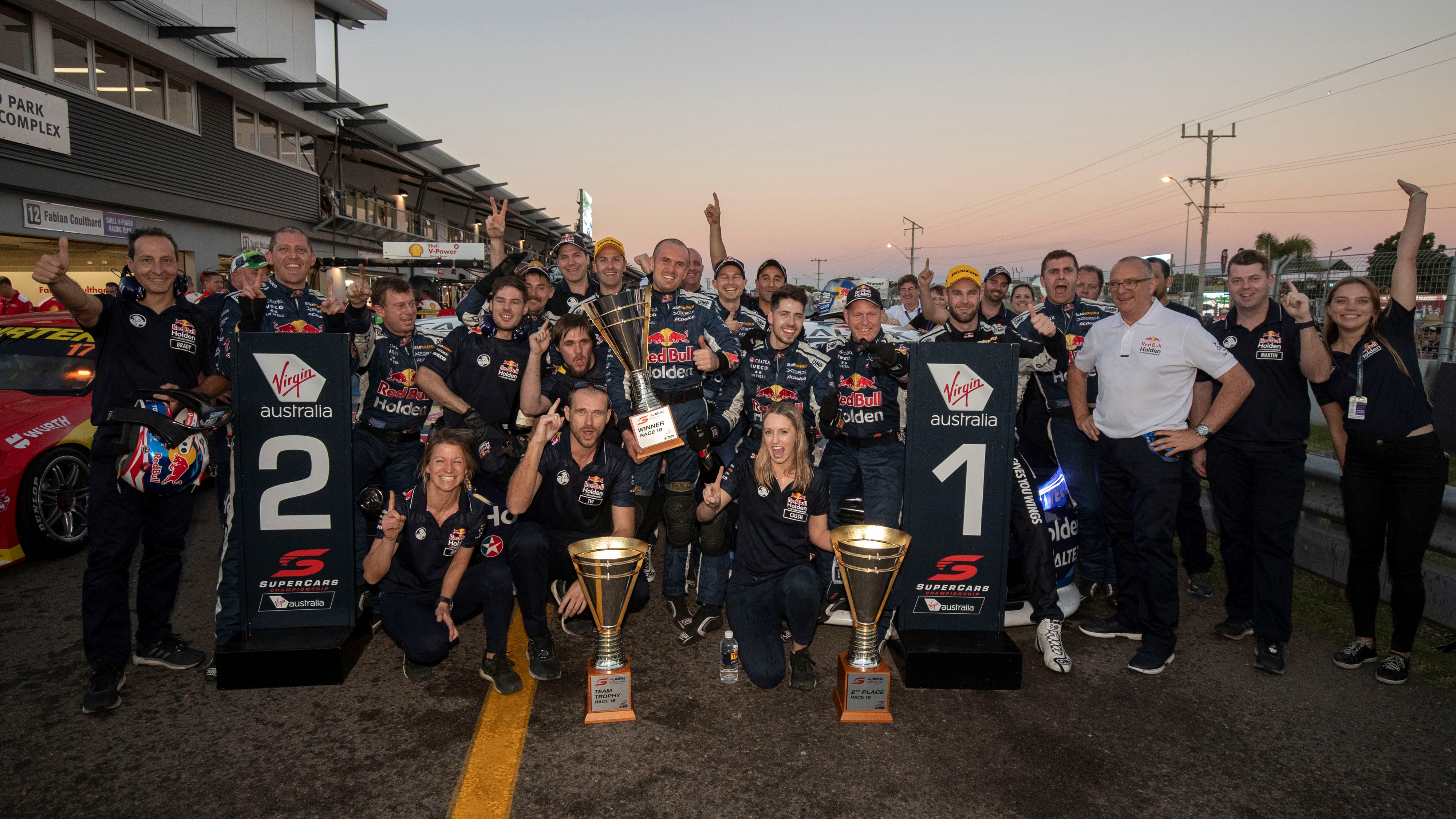 The Red Bull Holden Racing Team celebrate its second one-two result in Townsville.