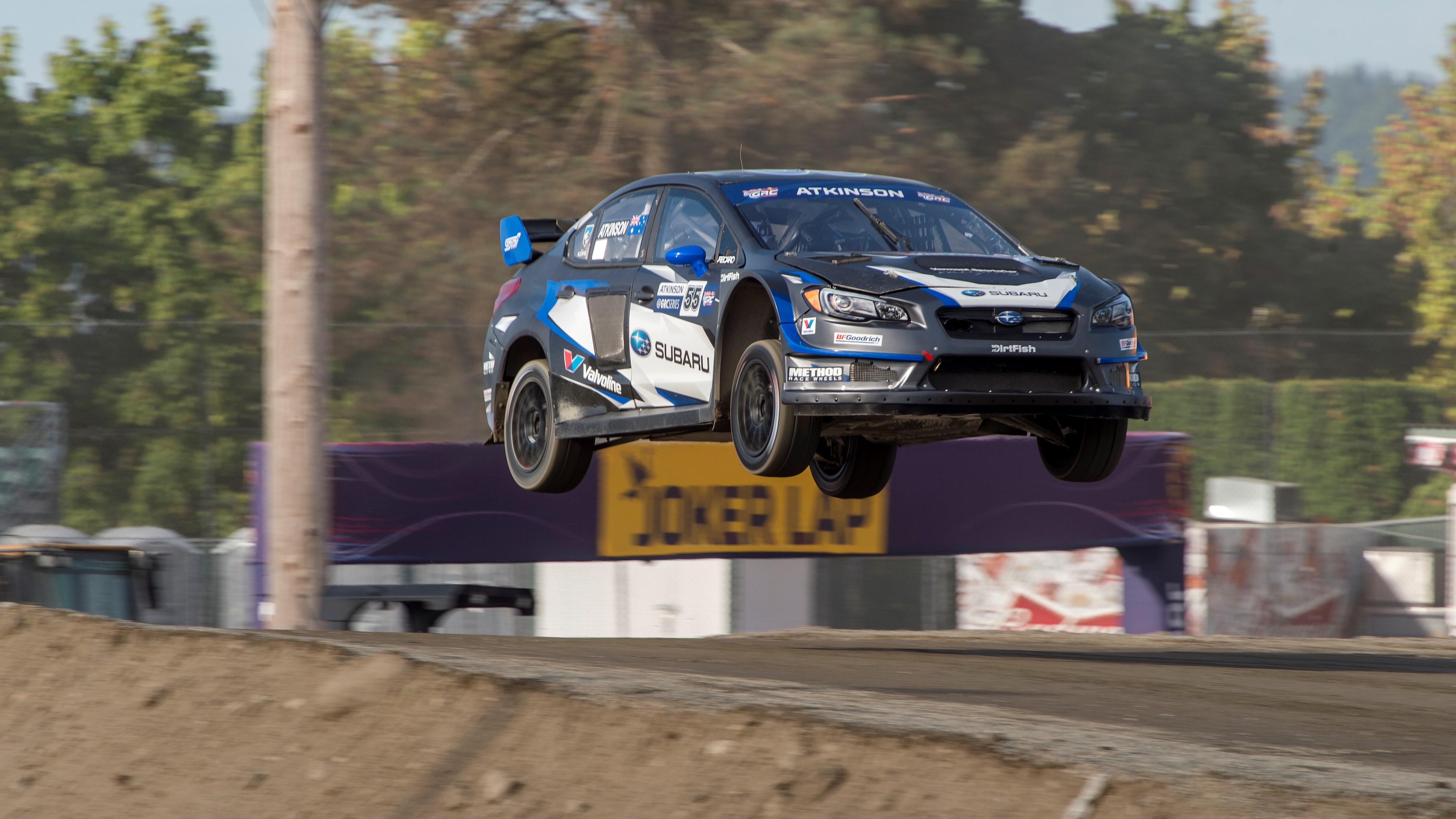 Australia's Chris Atkinson flies high in his Subau WRX STI rallycross car.