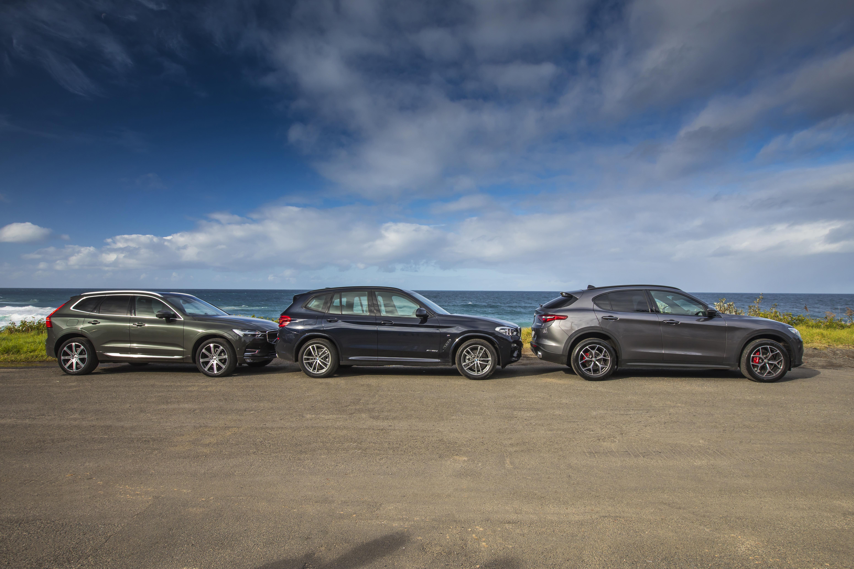 Luxury SUV comparison: Alfa Romeo Stelvio v BMW X3 and Volvo XC60.