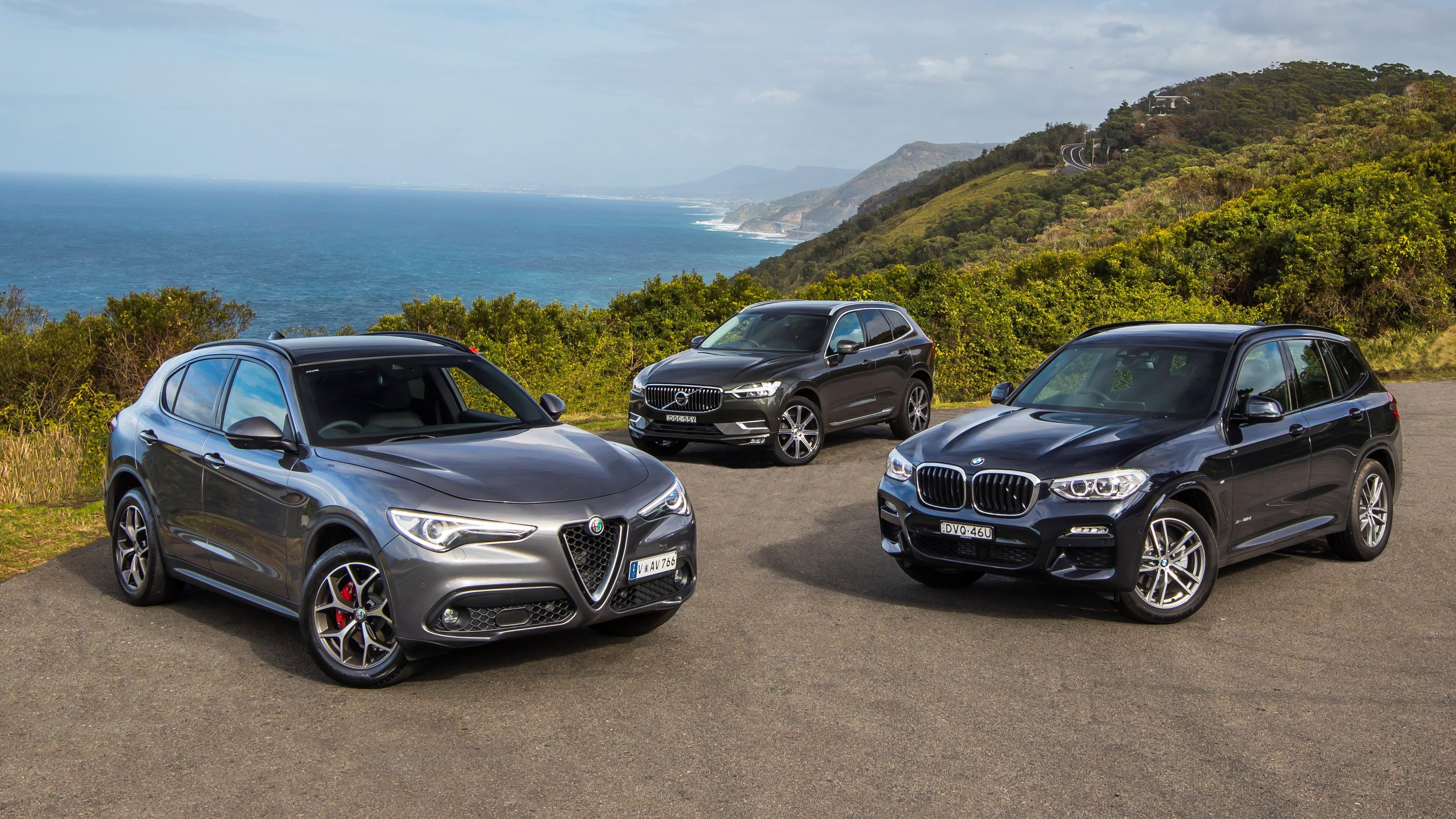 2018 Alfa Romeo Stelvio v BMW X3 v Volvo XC60 comparison review
