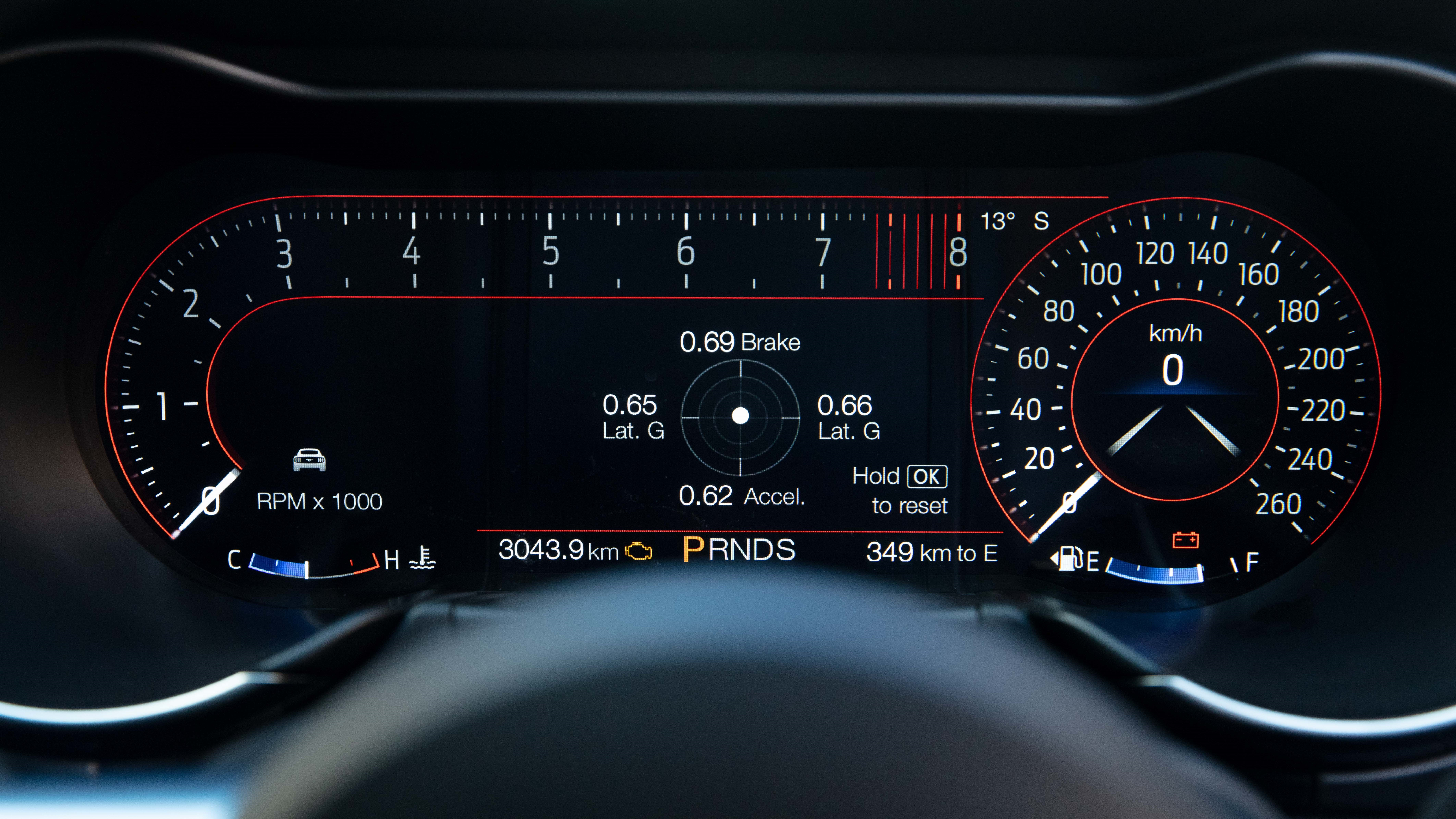 2018 Ford Mustang digital dashboard - Sport layout.