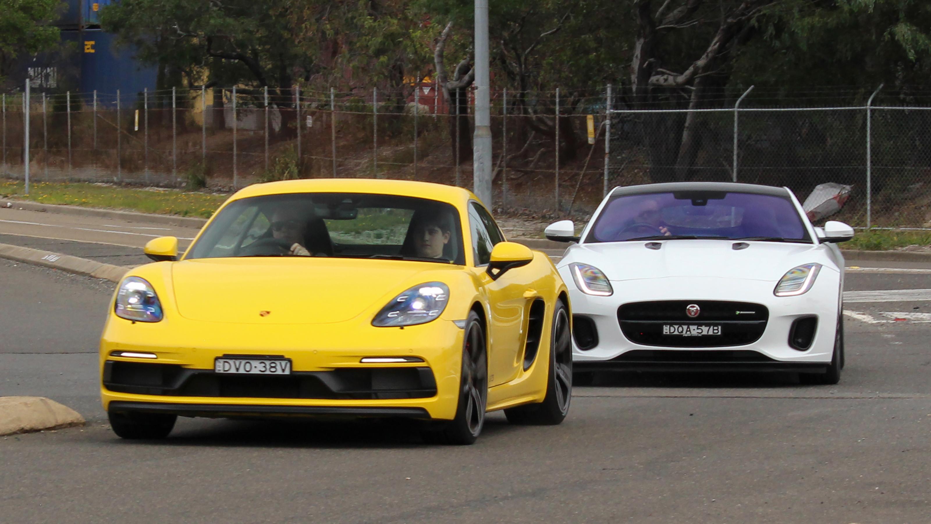 Head to head: Porsche Cayman GTS and Jaguar F-Type R-Dynamic.