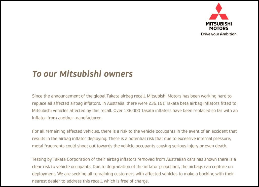 Mitsubishi has published a letter asking customers to have Takata airbags fixed.
