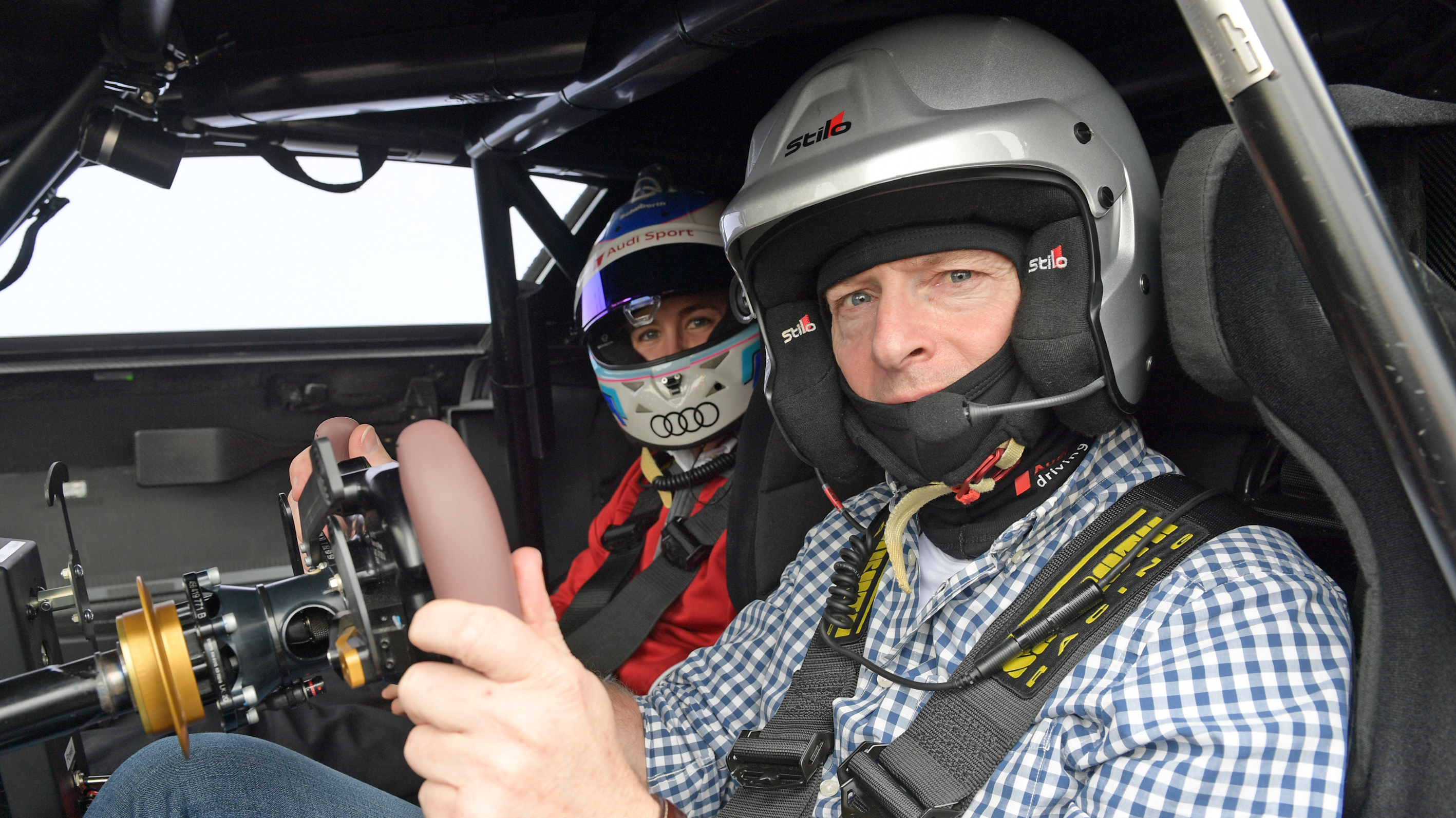 Greg Kable and Rahel Frey in the Audi e-tron Vision Gran Turismo.