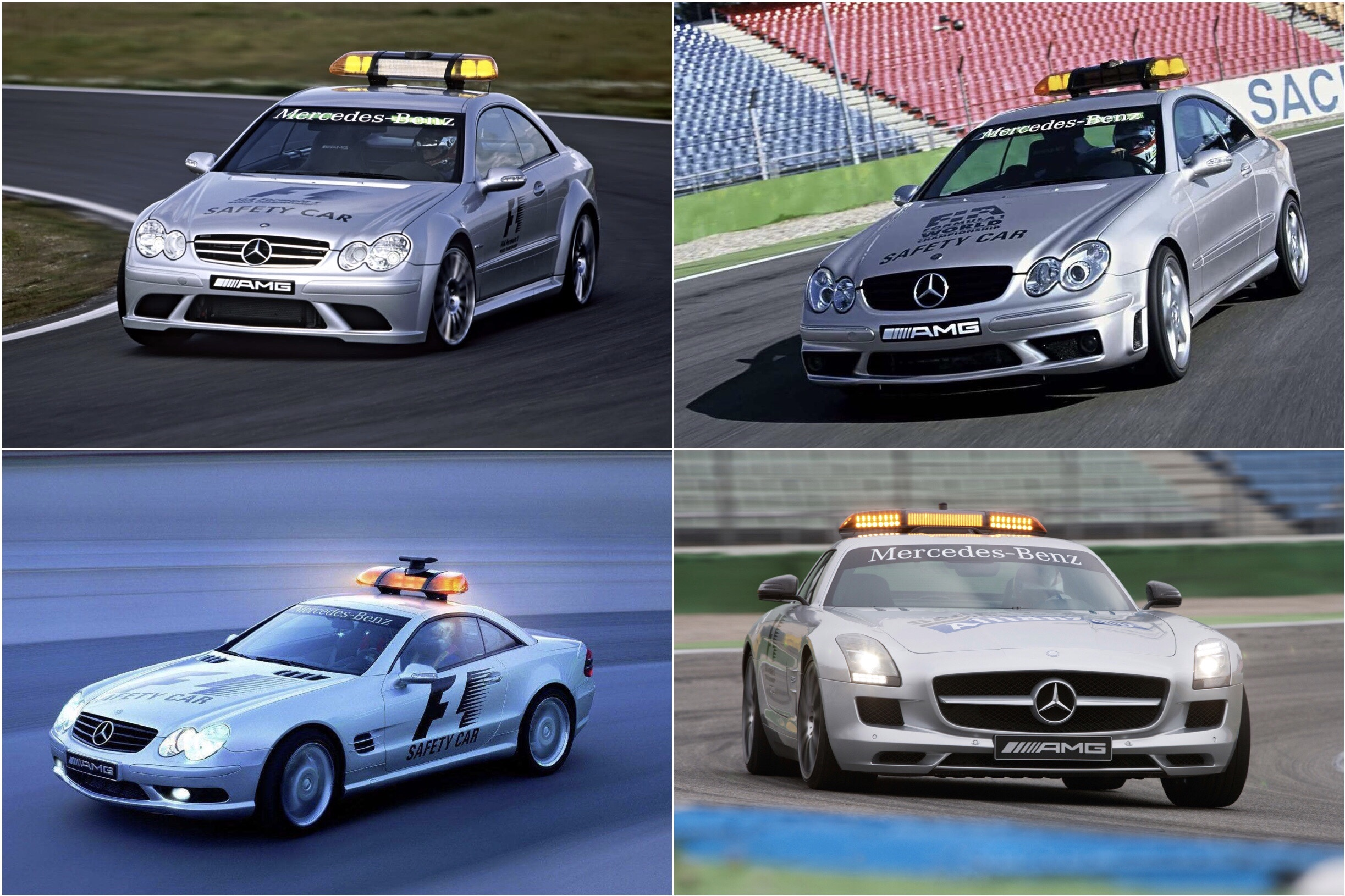 Mercedes-Benz's pace cars from past years.