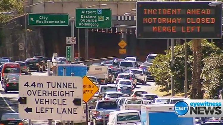 Motorists are stuck in heavy traffic.