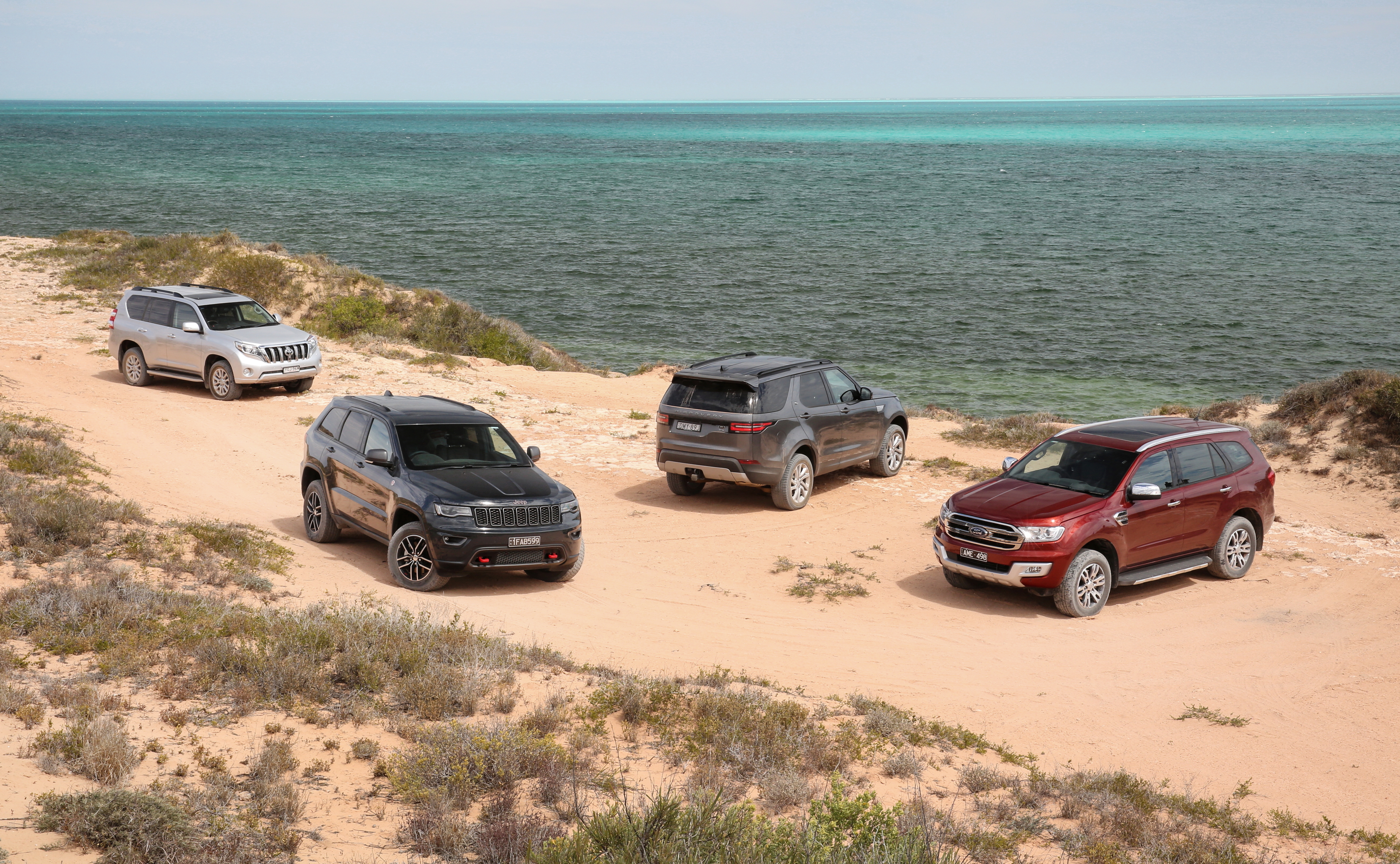 Off-road comparison: Land Rover Discovery v Ford Everest v Toyota Prado v Jeep Grand Cherokee.