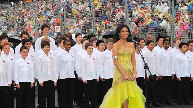Gabriella Cilmi prepares to sing the national anthem.