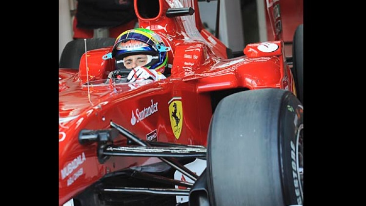 Felipe Massa in his car during the first practice session.