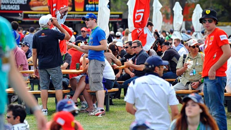 Grand Prix fans at Albert Park.