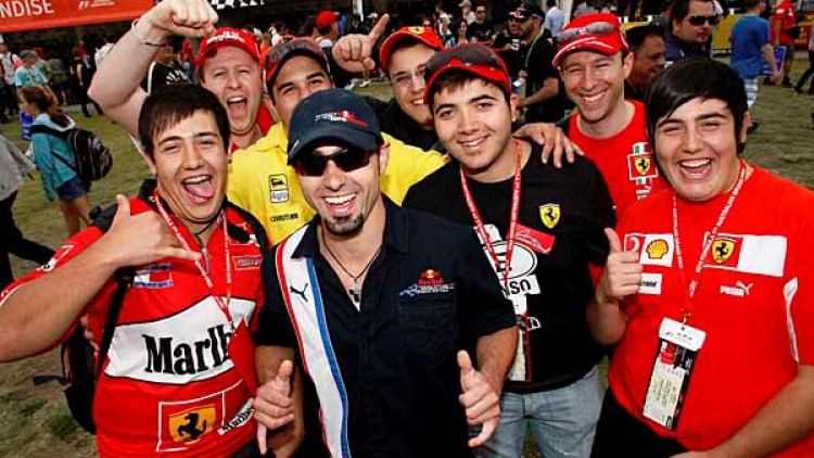 GP fans enjoy the colour and excitement of F1 Racing.