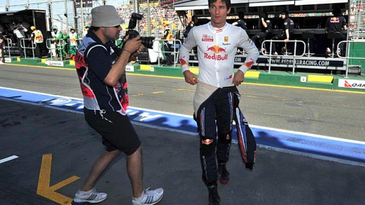 Mark Webber, during the first practice session.
