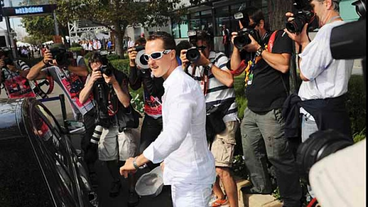Michael Schumacher arriving at the track.