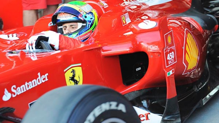 Felipe Massa of Ferrari in his car during the first practice session.