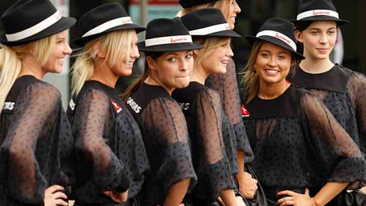 Qantas Grid Girls at the track.