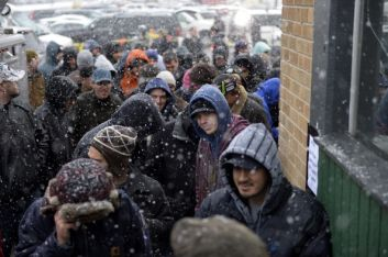 DENVER, CO. - January 01: The crowd kept growing during the first day of legal recreational marijuana sales at the 3D Cannabis Center in Denver Colorado January 01, 2014 Denver, CO. (Photo By Joe Amon/The Denver Post via Getty Images)