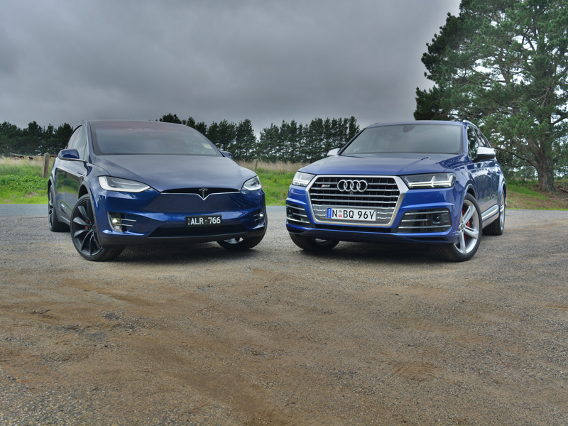 2017 Audi SQ7 v Tesla Model X P100D Comparison Review - Electrifying Large SUVs