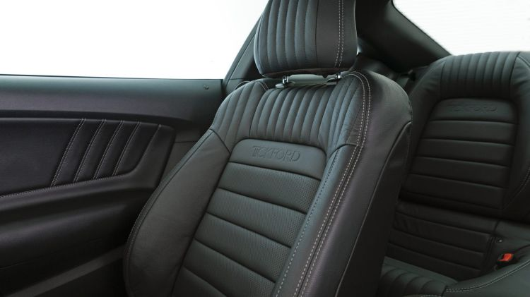 The leather seats are upgrades to feature extra padding, pleated stitching and embossed Tickford logos