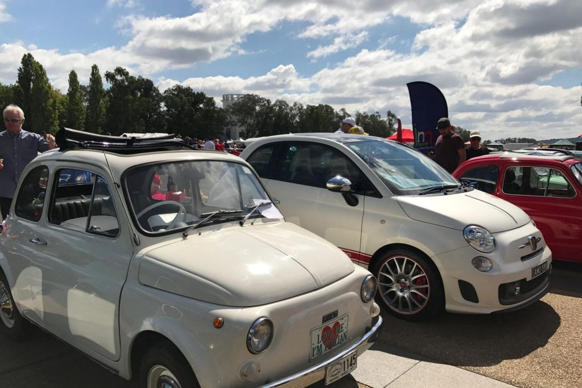 Old and new Fiat 500s on display at AutoItalia at Old Parliament House in Canberra.