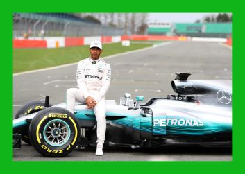 NORTHAMPTON, ENGLAND - FEBRUARY 23: Lewis Hamilton of Great Britain and Mercedes GP poses during the launch of the Mercedes formula one team's 2017 car, the W08, at Silverstone Circuit on February 23, 2017 in Northampton, England. (Photo by Mark Thompson/