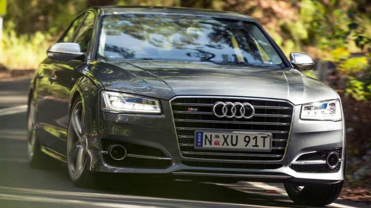 Audi's new V8-powered luxury S8 limousine.