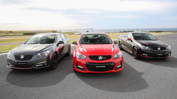 (Left to Right) 2017 Holden Commodore Director, Motorsport and Magnum Limited Editions.