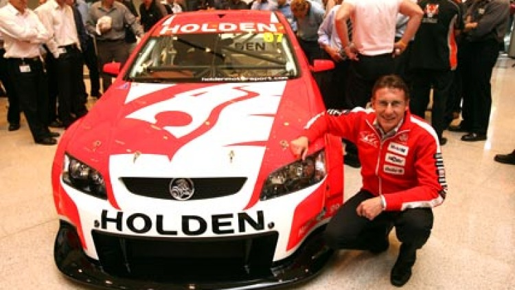 Mark Skaife at the launch of the new HRT V8 racing car, October 2006. Picture: Pat Scala