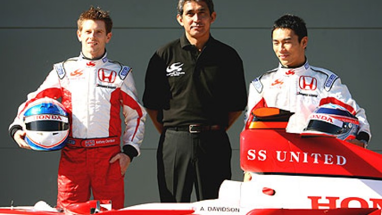 Formula One driver Anthony Davidson of Great Britain and Takuma Sato of Japan with team principal Aguri Suzuki at the launch of the new F1 Super Aguri car at the Albert Park circuit on March 14, 2007 in Melbourne. Picture: Getty Images