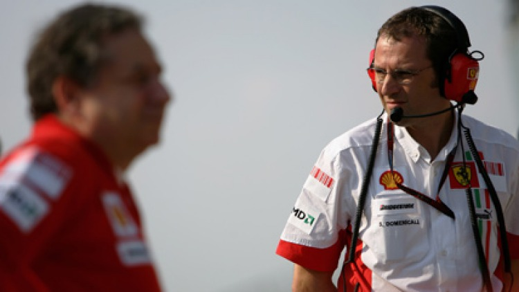 Domenicali (R) and Todt look on from the pit lane after the end of qualifying for the F1 Grand Prix of USA. June 16, 2007, Indianapolis. Picture: Getty images