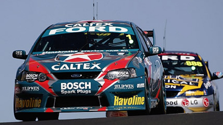 The Ford of Russell Ingal and Luke Youlden on the circuit during the practice session for the Bathurst 1000. October 6, 2006. Picture: Getty Images
