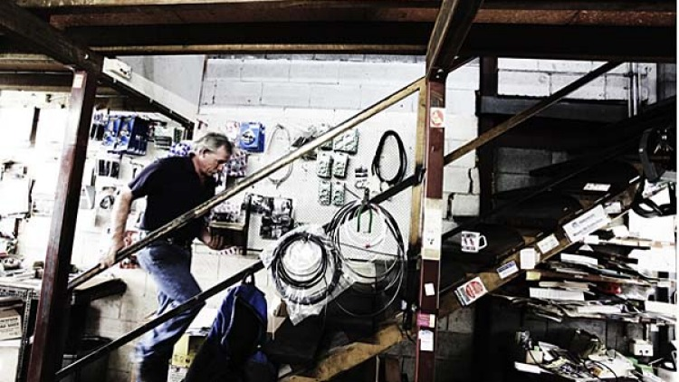 Spare parts are kept on two levels of the building  and have been collected over 35 years.