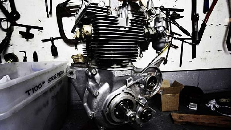 This 1973 Triumph Trident T150 engine hasn't been used since it was stored as an original replacement engine in 1973.