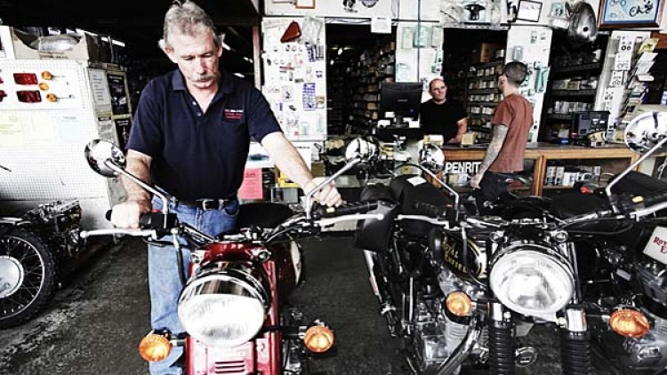 Chris Ray starts a brand new  2009 Royal Enfield bullet. Royal Enfield have been producing the exact same motorcycle since the 1950's at their factory in India.