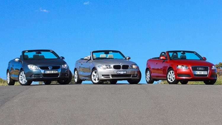 Best Convertible: Volkswagen Eos TDI, BMW 125i, Audi A3 Cabriolet 1.8 TFSI (left to right)