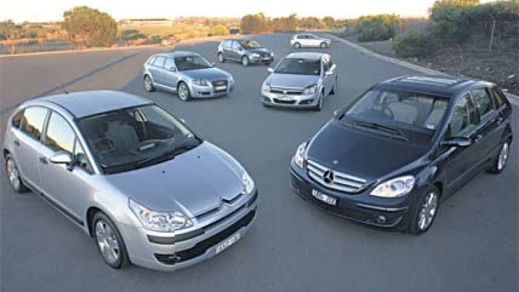 """Economics of scale""""¦(clockwise from bottom left) Citroen C4 HDI, Audi A3 TDI, Volkswagen Golf TDI, BMW 120d, Holden Astra CDTi and Mercedes-Benz B180 CDI. Picture: Mark Bean."""