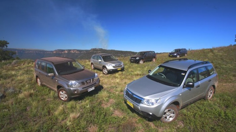 At home on the range ... (clockwise from far left) Nissan X-Trail, Honda CR-V, Toyota RAV4, Mitsubishi Outlander and Subaru Forester. Photos: Mark Bean