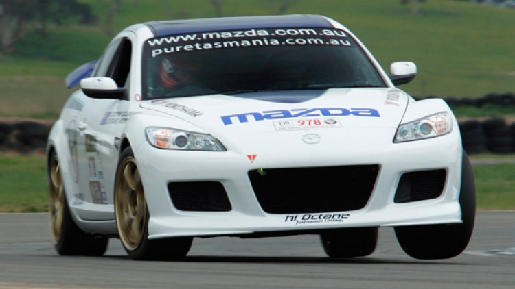 The RX-8 turbo was running second in the classic Targa Tasmania rally before it came to a sudden stop. The RX-8 SP has a turbocharger to double the power of its rotary engine.