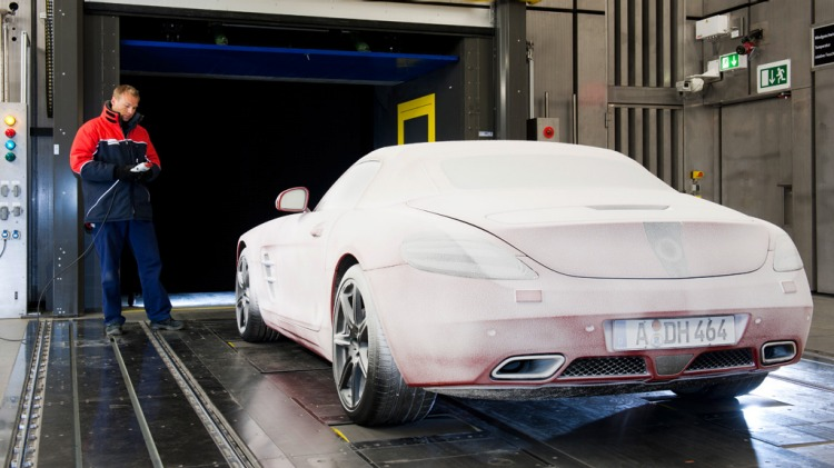 The Mercedes-Benz's hi-tech test lab can change the weather from heatwaves to hurricanes.