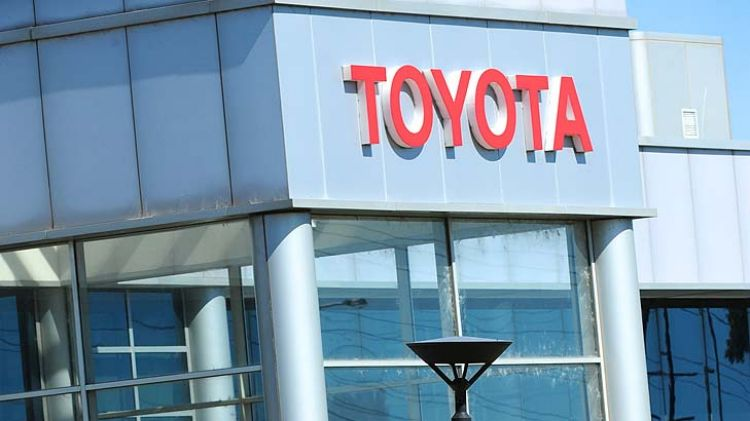 Workers leave Toyota's Altona plant after a meeting in January.