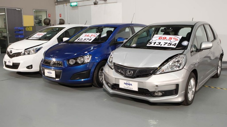 Top L to R: Toyota Yaris, Holden Barina and Honda Jazz. Middle Rear of the Holden Barina and Toyota Yaris. Bottom L to R: Honda Jazz, Holden Barina and Toyota Yaris.
