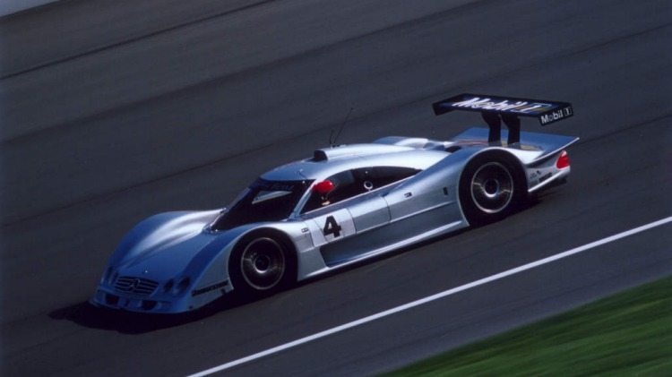 The Mercedes-Benz CLR that Australian Mark Webber will race in the Le Mans sports car race (on June 12-13, 1999) with Frenchman Jean-Marc Gounon and German Marcel Tieman.