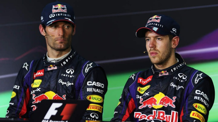 FILE PHOTO: Mark Webber is to leave F1 at the end of this season to join Porsche's new sportscar programme. KUALA LUMPUR, MALAYSIA - MARCH 24:  Race winner Sebastian Vettel (R) of Germany and Infiniti Red Bull Racing and second placed Mark Webber (L) of A