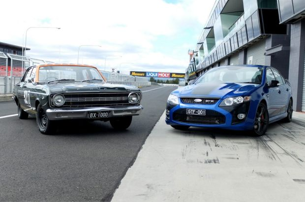 The first and the last: The original GT Falcon meets the GT F at Mount Panorama.
