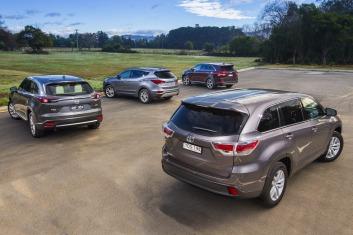 Seven seat SUV comparison test: Mazda CX-9 v Toyota Kluger v Hyundai Santa Fe v Kia Sorento.