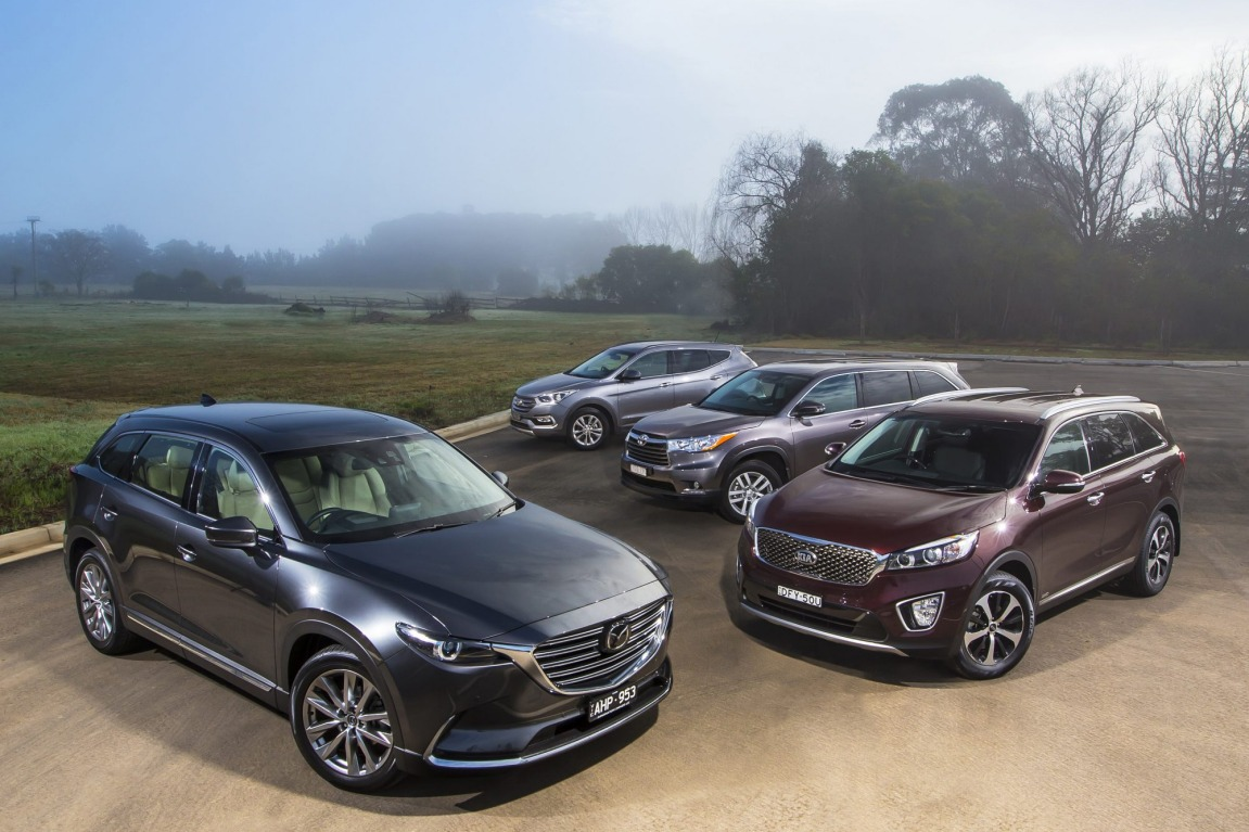 Can the all new Mazda CX-9 take down its established rivals the Kia Sorento, Toyota Kluger and Hyundai Santa Fe. (Mazda CX-9 Azami and Toyota Kluger GX shown)
