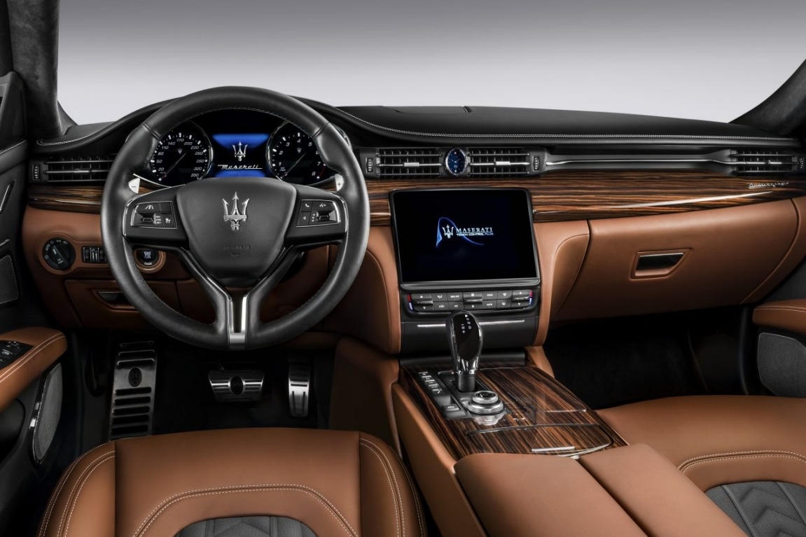 2017 Maserati Quattroporte GTS GranLuss interior featuring Zenga silk upholstery.