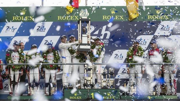 Porsche celebrates victory at Le Mans.