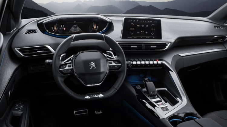 Peugeot 3008 GT features the French brand's new i-Cockpit digital instrument display.
