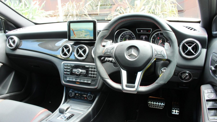 Mercedes-Benz GLA45 AMG interior.